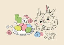 Joyeuses Pâques Lapin et oeufs de lièvres de lapin Oeufs peints accrochants Carte de voeux panier en osier avec des oeufs Vecteur illustration stock