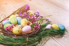 Joyeuses Pâques le fond a coloré le vecteur rouge de tulipe de format des oeufs de pâques eps8 Les oeufs colorés lumineux dans le Photographie stock