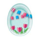 Joyeuses Pâques Oeuf de pâques de coupe de papier, Tulip Flower rose Indicateur Cadre d'ovale d'origami Photo libre de droits