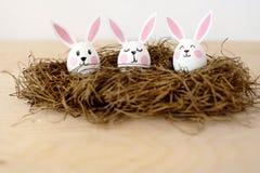 Joyeuses Pâques Oeufs avec des oreilles des lapins dans un nid sur un fond blanc photo stock