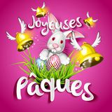Joyeuses Pâques, oeufs, cloches et lapin Royalty Free Stock Image