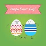 Joyeuses Pâques, oeufs heureux Image stock