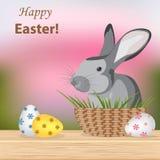 Joyeuses Pâques Oeufs modelés colorés et différents et lapin mignon s illustration stock