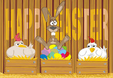 Joyeuses Pâques - oeufs peints dans le poulailler Image stock