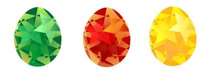 Joyeuses Pâques ont peint des oeufs, rouge vert jaune peuvent être employées pour l'impression de tissus, invitations, annonce illustration stock
