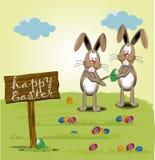 Joyeuses Pâques, peinture de lapin Photographie stock libre de droits