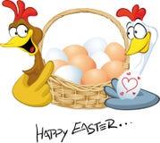 Joyeuses Pâques - poule dans le panier de prise d'amour Photo stock
