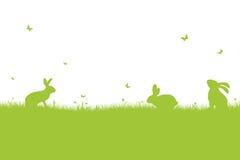 Joyeuses Pâques - silhouette verte image libre de droits