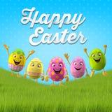 Joyeuses Pâques stupéfiant 3D la carte postale, bannière, fond Image libre de droits
