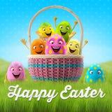Joyeuses Pâques stupéfiant 3D la carte postale, bannière, fond Image stock