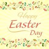 Joyeuses Pâques sur le fond avec des fleurs Images stock