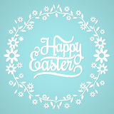 Joyeuses Pâques sur le fond bleu Image stock