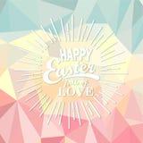 Joyeuses Pâques sur le fond polygonal Photographie stock