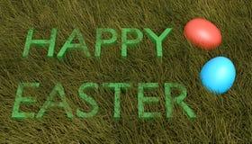 Joyeuses Pâques : Texte avec des oeufs sur l'herbe Photos stock