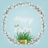 Joyeuses Pâques Pâques tresse avec Willow Branches avec des fleurs et des oeufs Décoration de vacances sur le fond blanc illustration de vecteur