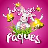 Joyeuses Pâques, oeufs, cloches et lapin illustration de vecteur
