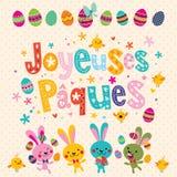 Joyeuses Paques lycklig påsk i franskt hälsningkort med påskkaniner royaltyfri illustrationer