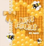 Joyeux anniversaire à mon bonbon - carte avec des abeilles illustration libre de droits