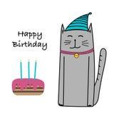 Joyeux anniversaire avec Cat And Cake Card Image libre de droits