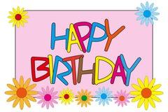 Joyeux anniversaire avec des fleurs illustration libre de droits
