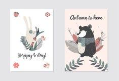 Joyeux anniversaire avec les animaux, l'ours et le lapin mignons Illustaration de vecteur pour vous projet illustration stock
