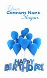 Joyeux anniversaire avec les ballons bleus Photographie stock libre de droits