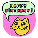 Joyeux anniversaire ! Bande dessinée Cat Head Bulle de la parole Illustration de vecteur Images stock