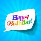 Joyeux anniversaire - bulle de salutations Photo libre de droits