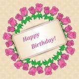 Joyeux anniversaire - carte avec des roses pour des vacances illustration de vecteur