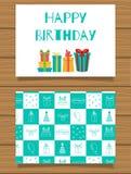 Joyeux anniversaire Carte de voeux de lettrage et son verso avec une conception abstraite Images stock