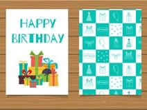 Joyeux anniversaire Carte de voeux de lettrage et son verso avec une conception abstraite Photo libre de droits