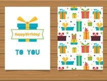 Joyeux anniversaire Carte de voeux de lettrage et son verso avec une conception abstraite Image stock