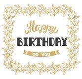 Joyeux anniversaire Carte de voeux de vecteur Lettrage de main illustration libre de droits