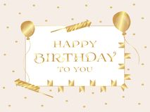 Joyeux anniversaire Carte de voeux L'inscription est écrite dans des lettres d'or dans un rectangle Vecteur illustration de vecteur