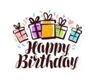 Joyeux anniversaire, carte de voeux Lettrage manuscrit, illustration de vecteur de calligraphie Image stock