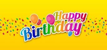 Joyeux anniversaire coloré avec des confettis et des ballons Image stock