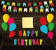 Joyeux anniversaire coloré Guirlande d'arc-en-ciel des drapeaux Lettres et b illustration libre de droits