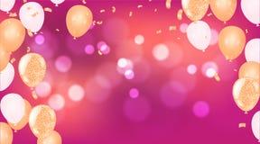 Joyeux anniversaire de ballons le ballon coloré miroite fond de vacances Jour de naissance de bonheur à vous logo, carte, bannièr illustration de vecteur