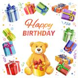 Joyeux anniversaire de carte cadre carré des cadeaux et du Teddy Bear watercolor Photographie stock