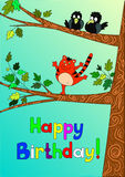Joyeux anniversaire de carte du chat illustration stock