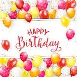 Joyeux anniversaire de lettrage rouge avec des ballons et des flammes Photos libres de droits