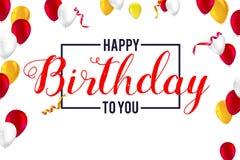 Joyeux anniversaire de salutations élégantes, carte créative avec les ballons gonflables, confettis et flammes Image stock