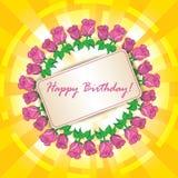 Joyeux anniversaire - dirigez la carte de voeux avec le cadre des roses illustration stock