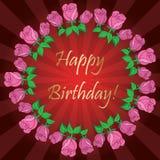 Joyeux anniversaire - fond rouge avec les rayons et le cadre des roses illustration stock