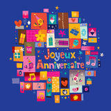 Joyeux Anniversaire Happy Birthday in French Royalty Free Stock Image