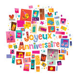 Joyeux Anniversaire Happy Birthday in French Royalty Free Stock Images