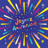 Joyeux Anniversaire Happy Birthday in French greeting card. With burst explosion Royalty Free Stock Photography
