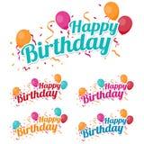 Joyeux anniversaire heureux avec des confettis et des ballons Photos libres de droits