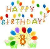 Joyeux anniversaire huit Photo libre de droits