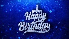 Joyeux anniversaire le texte de clignotement souhaite des salutations de particules, invitation, fond de célébration illustration de vecteur